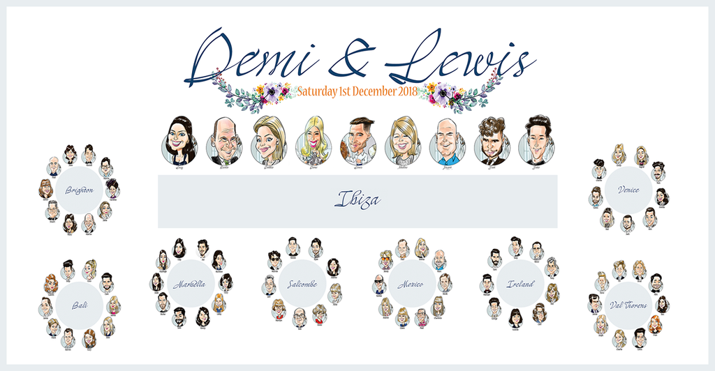 Full caricature wedding seating plan