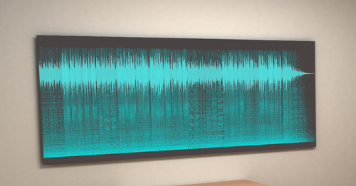 sound shadow voice and sound art on wall in caviar black and turquoise