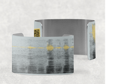 Load image into Gallery viewer, sound shadows sound art wide cuff bracelet with unique sound in grey, dark blue and yellow