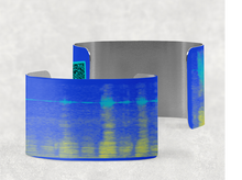 Load image into Gallery viewer, sound shadows sound art wide cuff bracelet with unique sound in blue and yellow