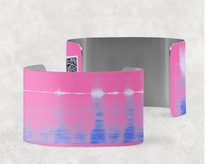 Load image into Gallery viewer, sound shadows sound art wide cuff bracelet with unique sound in Persian pink, blue and lavender