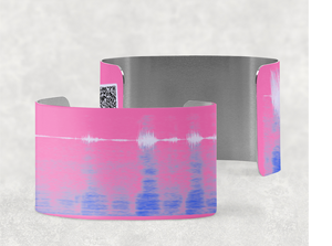 sound shadows sound art wide cuff bracelet with unique sound in Persian pink, blue and lavender