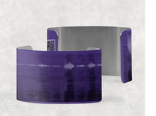 Load image into Gallery viewer, sound shadows sound art wide cuff bracelet with unique sound in purple and black