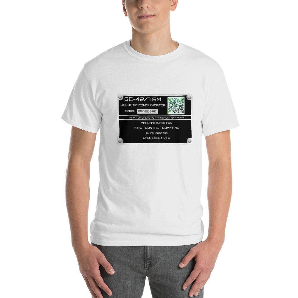 Galactic Communicator Equipment Plate - Unisex T-shirt - Scan for a critical message from the stars