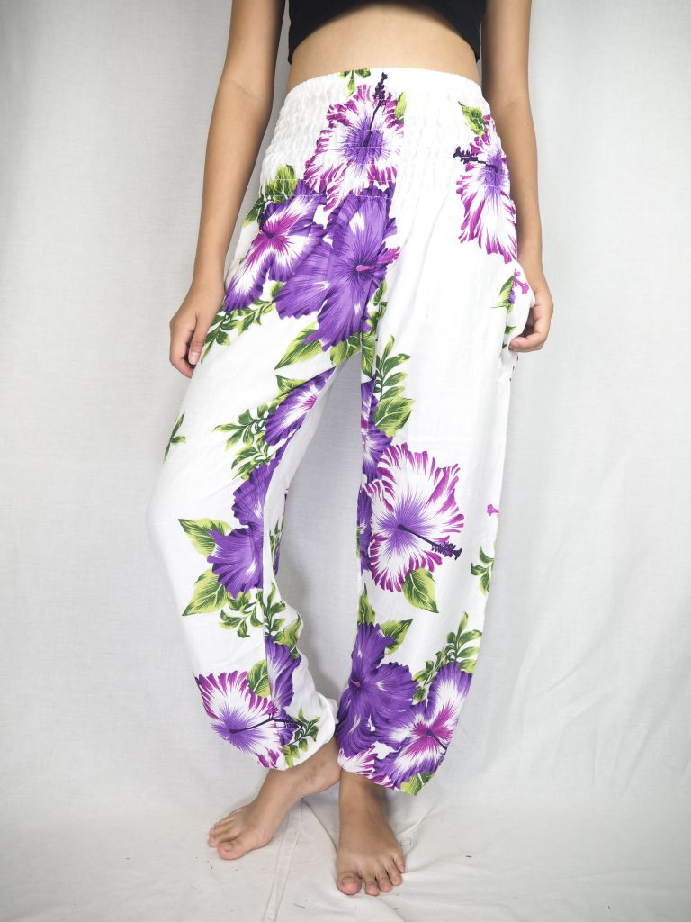 Color flower 19 women harem pants in Purple PP0004 020019 03