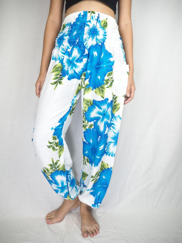 Color flower 19 women harem pants in Blue PP0004 020019 04