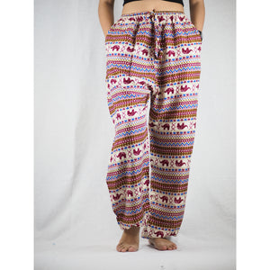 Striped elephant Unisex Drawstring Genie Pants in Red PP0110 020053 03