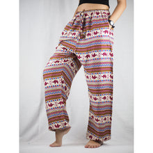 Load image into Gallery viewer, Striped elephant Unisex Drawstring Genie Pants in Red PP0110 020053 03