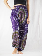 Load image into Gallery viewer, Abstract round sunflower 89 women harem pants in Purple PP0004 020089 03
