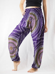 Abstract round sunflower 89 women harem pants in Purple PP0004 020089 03