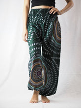 Load image into Gallery viewer, Abstract round sunflower 89 women harem pants in Green PP0004 020089 04