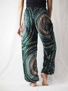 Abstract round sunflower 89 women harem pants in Green PP0004 020089 04