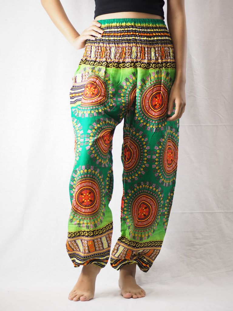 Colorful sunflower 94 women harem pants in Green PP0004 020094 03