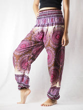 Load image into Gallery viewer, Colorful sunflower 95 women harem pants in White PP0004 020095 04