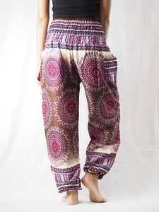 Colorful sunflower 95 women harem pants in White PP0004 020095 04