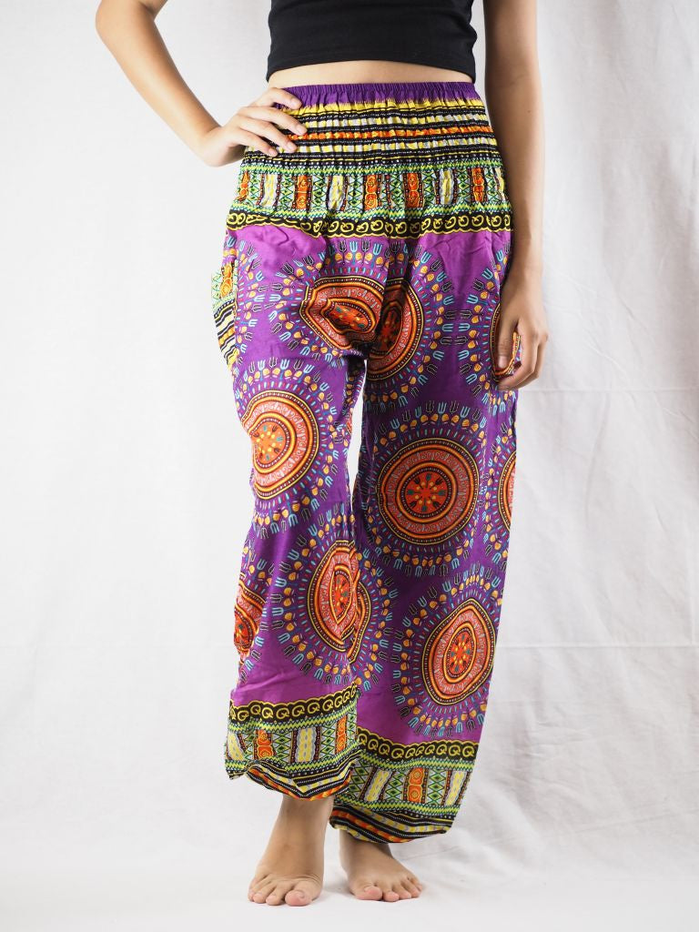 Colorful sunflower 94 women harem pants in Purple PP0004 020094 05