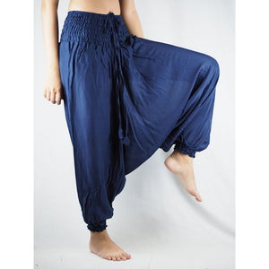 Solid Color Unisex Aladdin Drop Crotch Pants in Navy Blue PP0056 020000 03