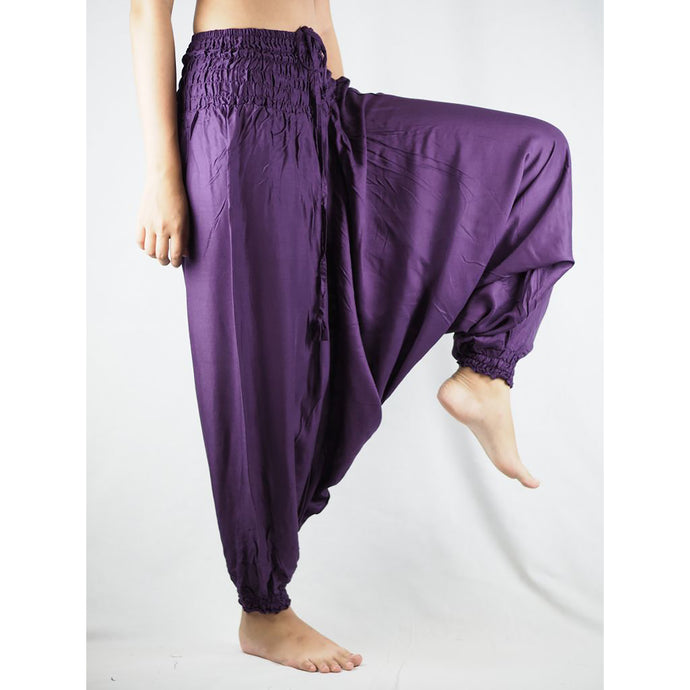 Solid Color Unisex Aladdin Drop Crotch Pants in Purple PP0056 020000 06