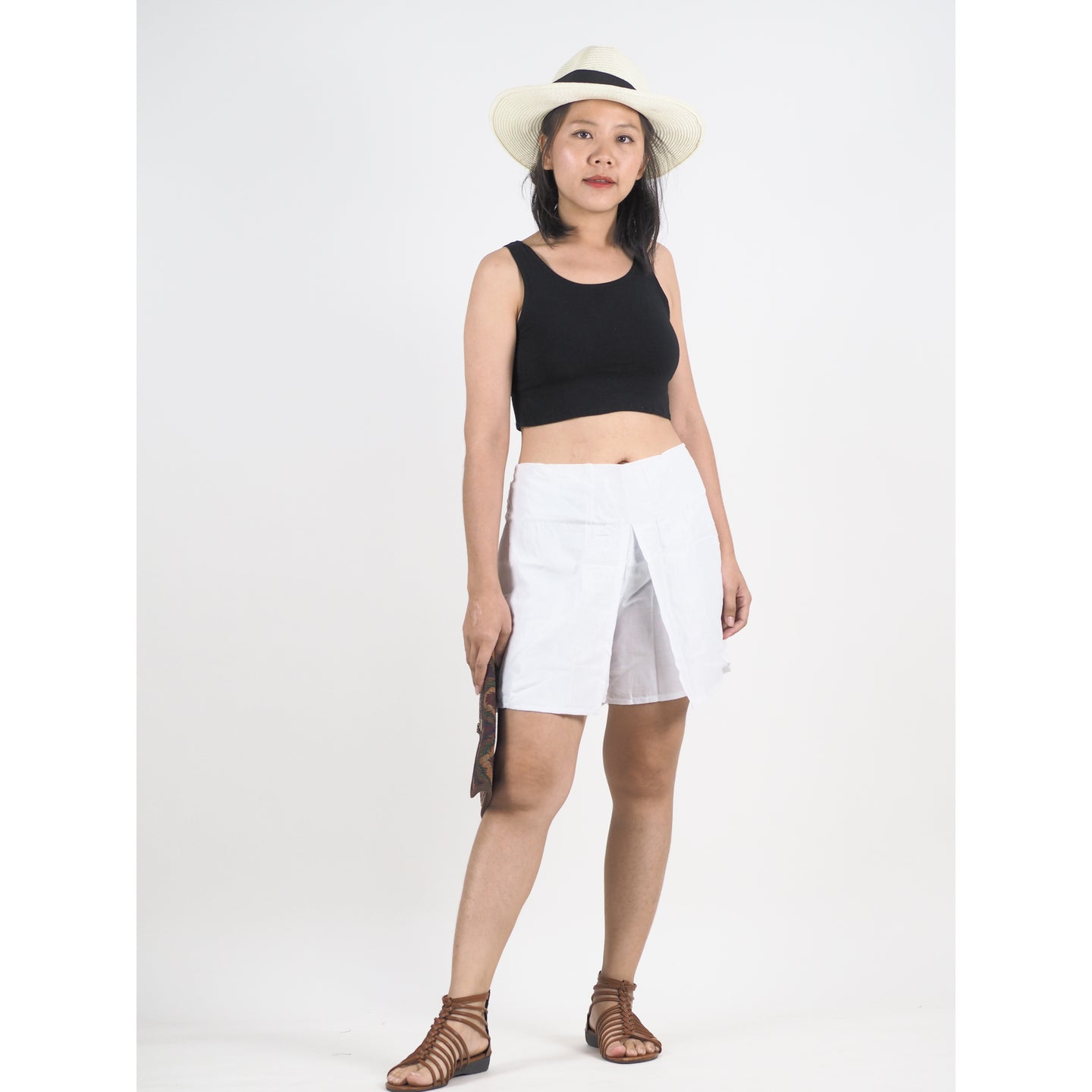 Solid Color Women's Wrap Shorts Pants in White PP0205 020000 04