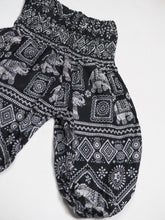 Load image into Gallery viewer, African Elephant Unisex Kid Harem Pants in Black PP0004 020004 01