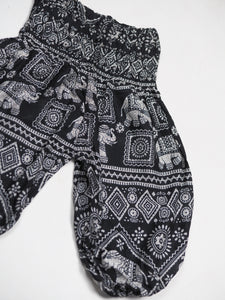 African Elephant Unisex Kid Harem Pants in Black PP0004 020004 01