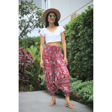 Load image into Gallery viewer, African Elephant Unisex Aladdin drop crotch pants in Red PP0056 020004 03