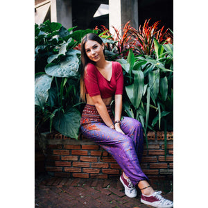 Peacock Feathers Women's Harem Pants in Purple