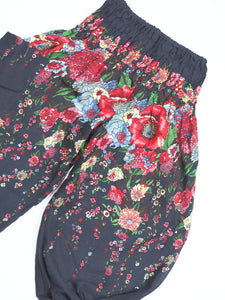Floral Royal Unisex Kid Harem Pants in Black PP0004 020010 01