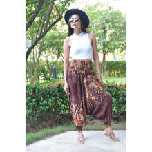 Load image into Gallery viewer, Floral Royal Unisex Aladdin drop crotch pants in Brown PP0056 020010 05