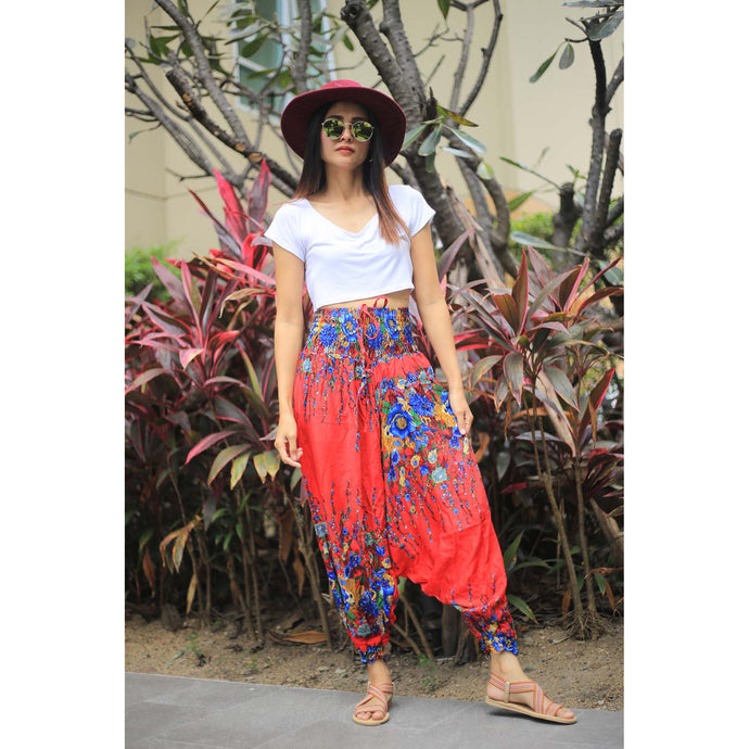 Floral Royal Unisex Aladdin drop crotch pants in Red PP0056 020010 10