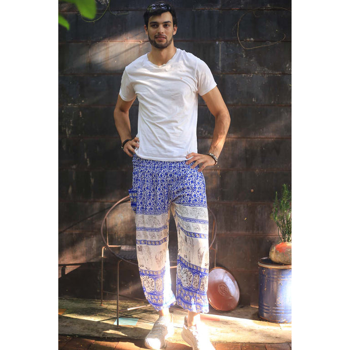 Cute elephant 11 men/women harem pants in Bright Navy PP0004 020011 01
