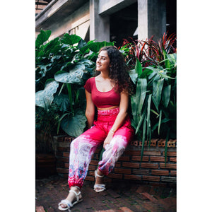 Solid Top Elephant 17 men/women harem pants in Pink PP0004 020017 01