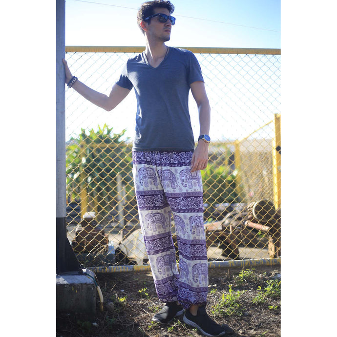 Cute elephant 27 men/women harem pants in Purple PP0004 020027 01