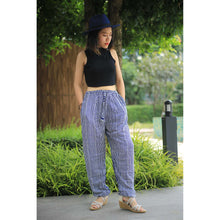 Load image into Gallery viewer, Zebra Stripe Unisex Drawstring Genie Pants in Bright Navy PP0110 020041 02