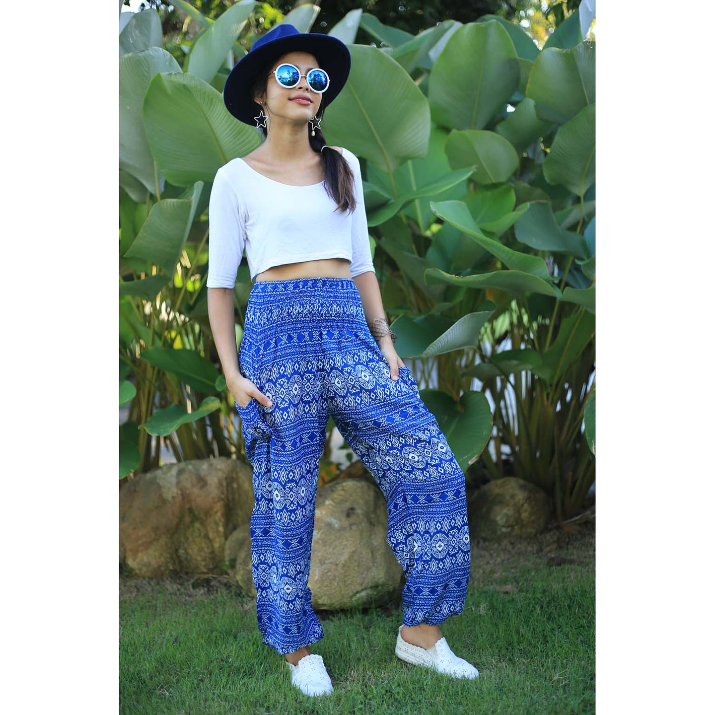 Hilltribe strip women's harem pants in Bright Blue PP0004 020049 02