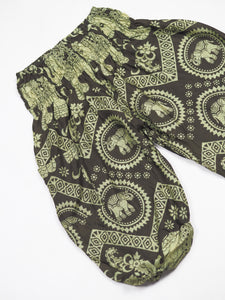 Elephant Circles Unisex Kid Harem Pants in Green PP0004 020051 04