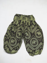 Load image into Gallery viewer, Elephant Circles Unisex Kid Harem Pants in Green PP0004 020051 04