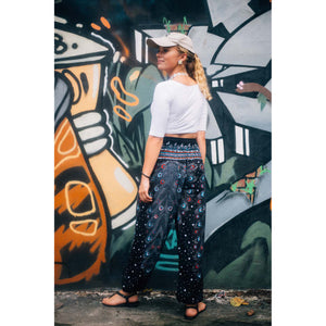 Peacock Heaven Women's Harem Pants in Black