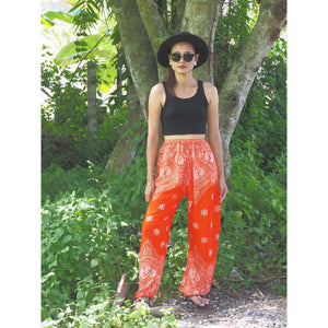 Flower drops Unisex Drawstring Genie Pants in Orange PP0110 020070 04