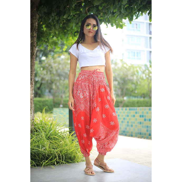 Flower drops  Unisex Aladdin drop crotch pants in Red PP0056 020070 05