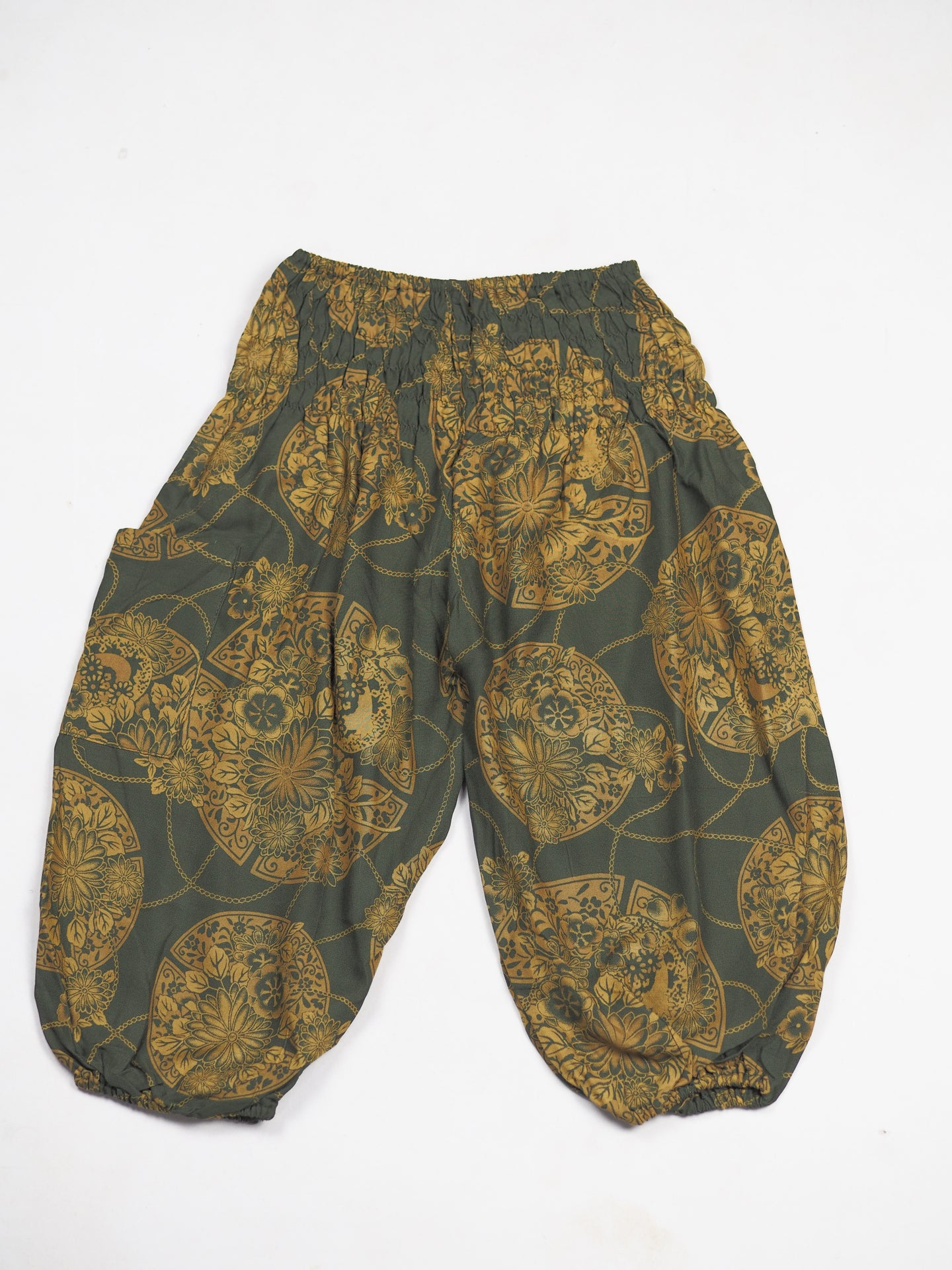 Floral Classic Unisex Kid Harem Pants in Green PP0004 020098 07