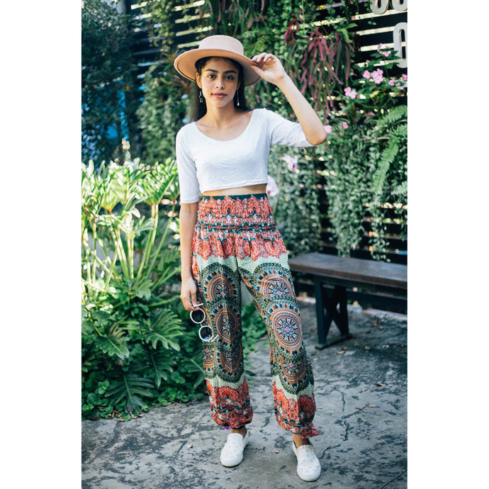 Contrast mandala 127 women harem pants in Green PP0004 020127 02