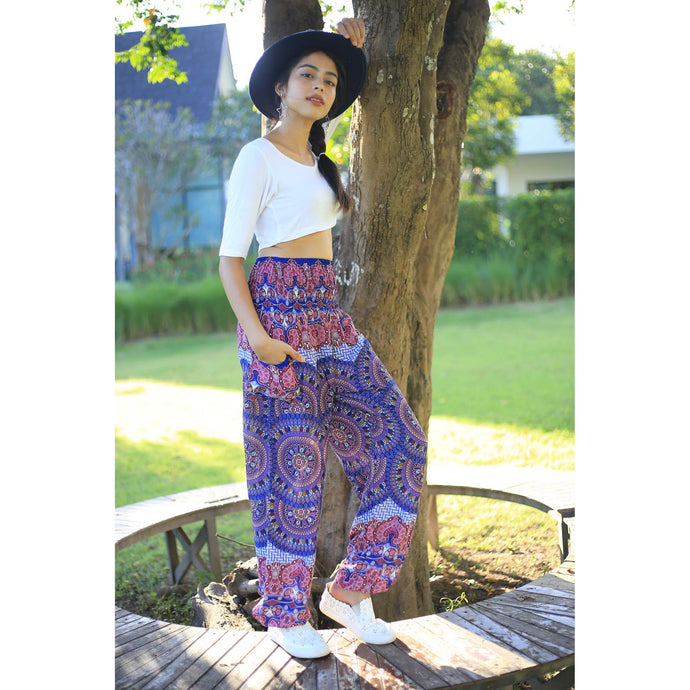 Contrast mandala 127 women harem pants in Bright Navy PP0004 020127 04