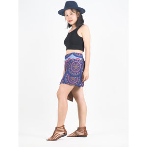Contrast Mandala Women's Wrap Shorts Pants in Bright Navy PP0205 020127 04