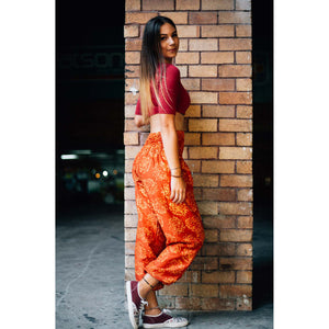 Flowers 147 women harem pants in Orange PP0004 020147 01