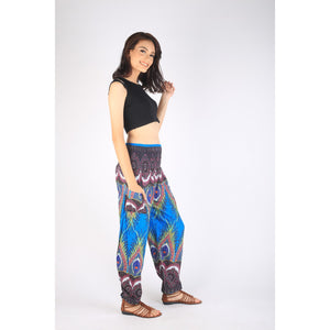 Abstract feather 191 women harem pants in Blue PP0004 020191 05