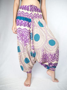 2 tone mandala Unisex Aladdin drop crotch pants in Purple PP0056 020032 01