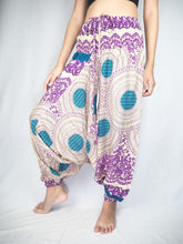 Load image into Gallery viewer, 2 tone mandala Unisex Aladdin drop crotch pants in Purple PP0056 020032 01