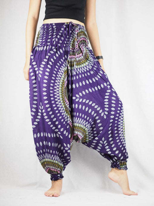 Abstract Round Sunflower Unisex Aladdin Drop Crotch Pants in Purple PP0056 020089 03