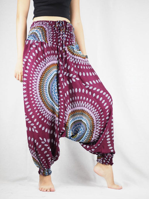 Abstract Round Sunflower Unisex Aladdin Drop Crotch Pants in Wine PP0056 020089 05